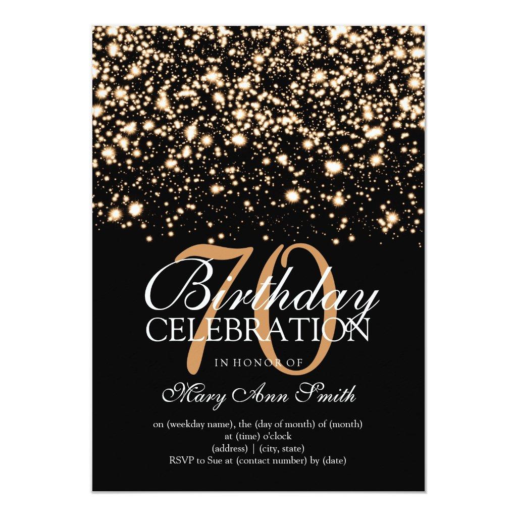 Elegant 70th Birthday Party Gold Midnight Glam Card