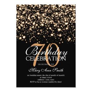 Elegant 70th Birthday Party Gold Midnight Glam Invitation