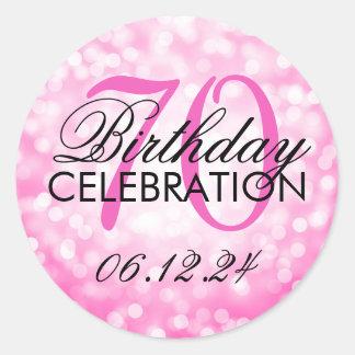 Elegant 70th Birthday Party Pink Glitter Lights Round Sticker