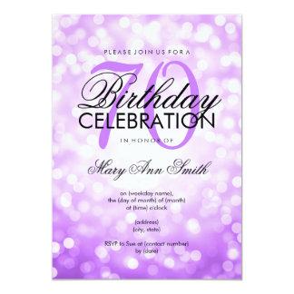 Elegant 70th Birthday Party Purple Glitter Lights 13 Cm X 18 Cm Invitation Card