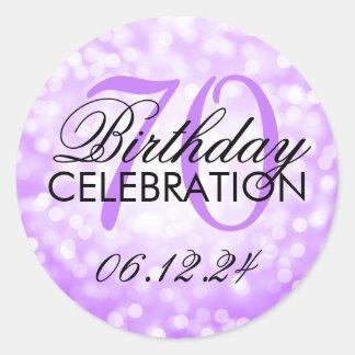 Elegant 70th Birthday Party Purple Glitter Lights Round Sticker