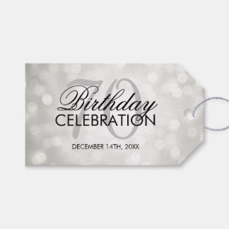 Elegant 70th Birthday Party Silver Glitter Lights Gift Tags