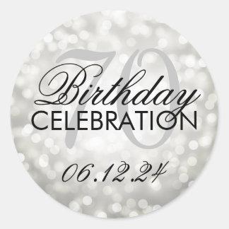 Elegant 70th Birthday Party Silver Glitter Lights Round Sticker