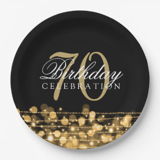 Elegant 70th Birthday Party Sparkles Gold 9 Inch Paper Plate