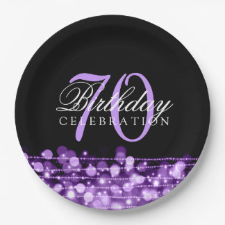 Elegant 70th Birthday Party Sparkles Purple 9 Inch Paper Plate