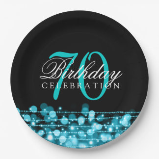 Elegant 70th Birthday Party Sparkles Turquoise 9 Inch Paper Plate