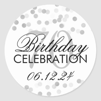 Elegant 70th Birthday Silver Foil Glitter Lights Round Sticker