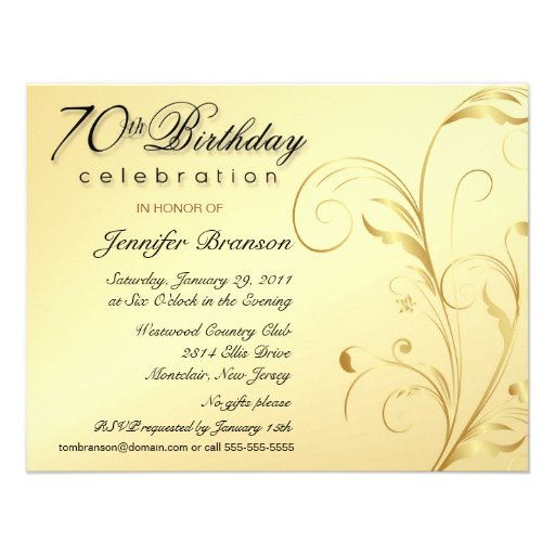 Elegant 70th Birthday Surprise Party Invitations