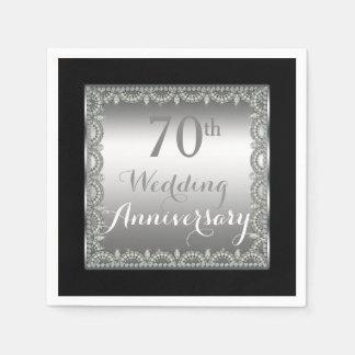 Elegant 70th Silver and Diamonds Anniversary Disposable Serviette