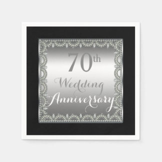 Elegant 70th Silver and Diamonds Anniversary Paper Napkins