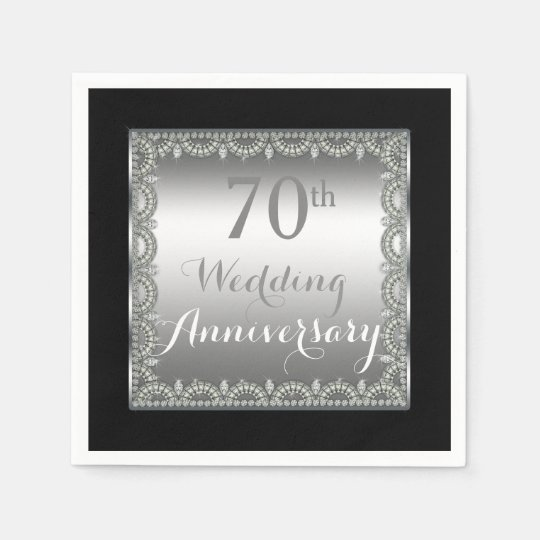 Elegant 70th Silver and Diamonds Anniversary Paper Napkins