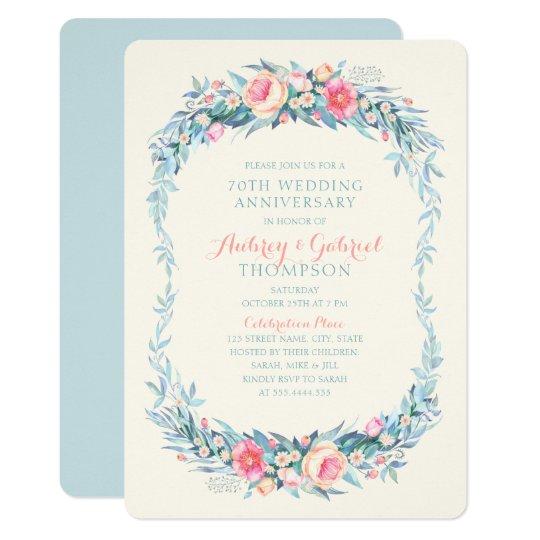 Elegant 70th Wedding Anniversary Floral Spring Card