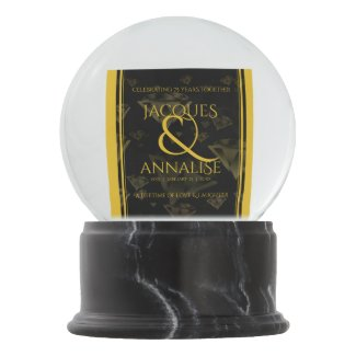 Elegant 75th Diamond and Gold Wedding Anniversary Snow Globe