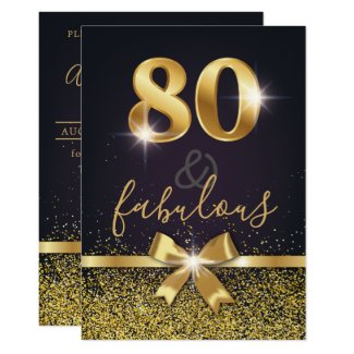 Elegant 80 & Fabulous Gold Glitter 80th Birthday Invitation