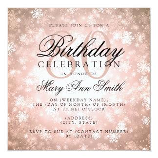 Elegant 80th Birthday Copper Winter Wonderland Card