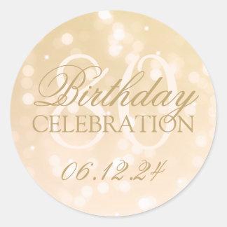 Elegant 80th Birthday Gold Bokeh Sparkle Lights Classic Round Sticker