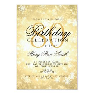 Elegant 80th Birthday Gold Winter Wonderland Card