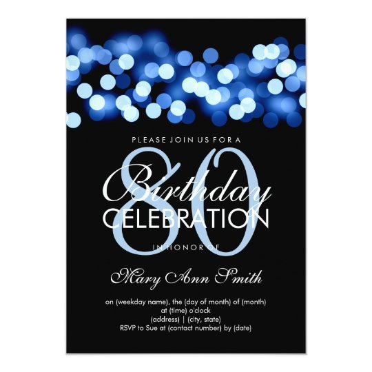 Elegant 80th Birthday Party Blue Hollywood Glam Card