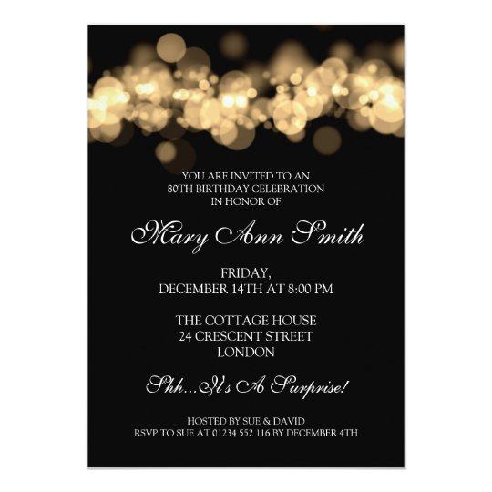 Elegant 80th Birthday Party Gold Bokeh Lights Card