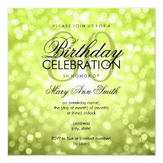 Elegant 80th Birthday Party Green Glitter Lights 13 Cm X 13 Cm Square Invitation Card
