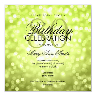 Elegant 80th Birthday Party Green Glitter Lights Card