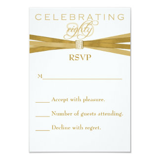 Elegant 80th Birthday Party Invitations RSVP Card