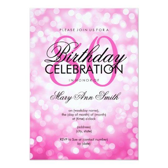 Elegant 80th Birthday Party Pink Glitter Lights Invitation