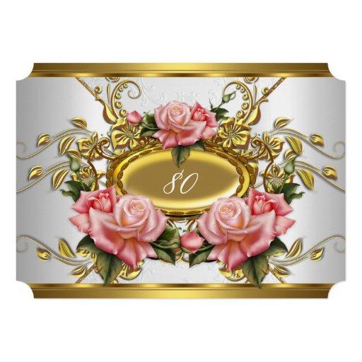 Elegant 80th Birthday Party Pink Gold Roses White Custom Invitation