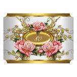 Elegant 80th Birthday Party Pink Gold Roses White 13 Cm X 18 Cm Invitation Card