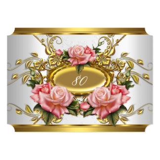 Elegant 80th Birthday Party Pink Gold Roses White 5x7 Paper Invitation Card