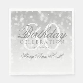 Elegant 80th Birthday Silver Bokeh Sparkle Lights Disposable Napkin