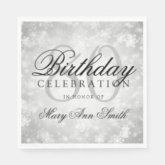 Elegant 80th Birthday Silver Winter Wonderland Disposable Napkins