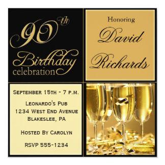 "Elegant 90th Birthday Party Invitations 5.25"" Square Invitation Card"
