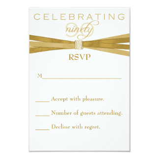 Elegant 90th Birthday Party Invitations RSVP Card