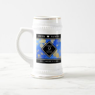 Elegant 9th Lapis Lazuli Wedding Anniversary Beer Stein