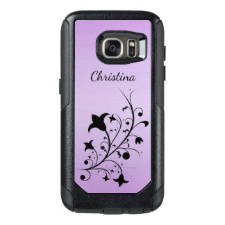 Elegant Abstract black Flowers on Stem on Purple OtterBox Samsung Galaxy S7 Case