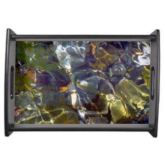 Elegant Abstract Colorful Stained Glass Serving Tray