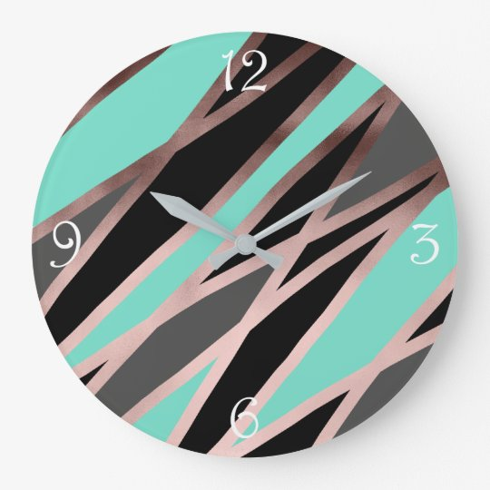 elegant abstract faux rose gold black grey mint