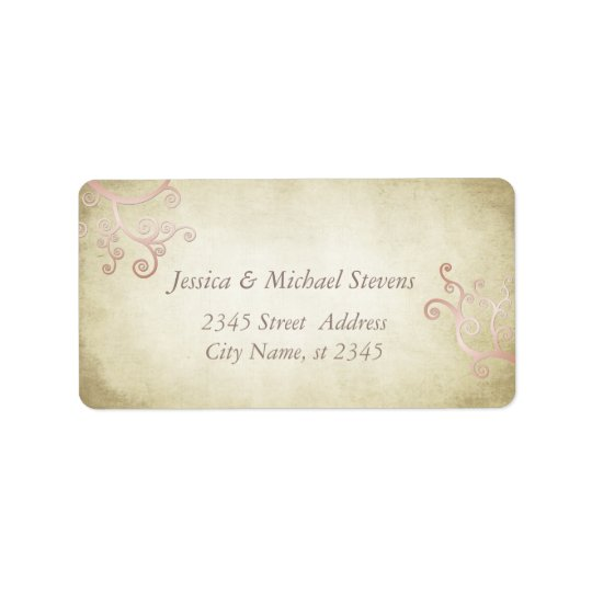 Elegant abstract floral vintage wedding address label
