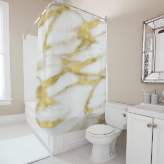 Elegant Abstract Gold and White Marble Pattern Shower Curtain