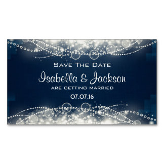 Elegant Abstract Lace and Pearls Save The Date Magnetic Business Card