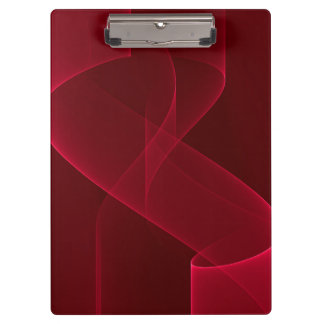 Elegant Abstract Red Ribbon Clipboard