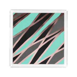 elegant abstract rose gold foil black grey mint acrylic tray
