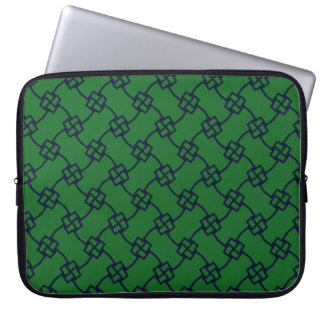 Elegant abstract square knots on green laptop sleeve
