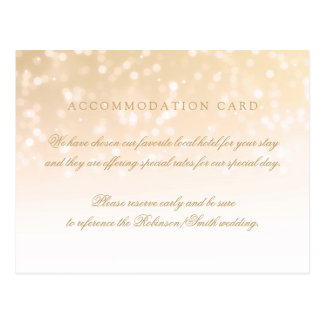 Elegant Accommodation Gold Bokeh Sparkle Lights Postcard