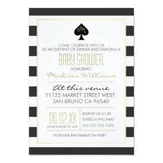 Elegant Ace of Spades on Stripes Baby Shower 13 Cm X 18 Cm Invitation Card