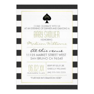 Elegant Ace of Spades on Stripes Baby Shower Card