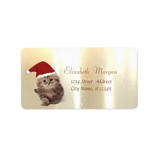 Elegant, Adorable Cat With Santa Hat Label