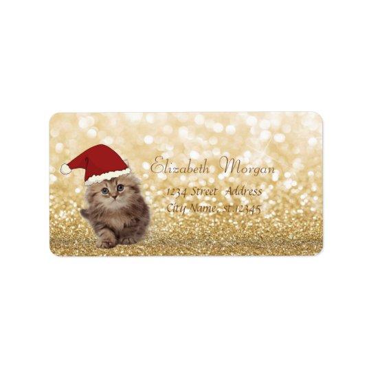 Elegant, Adorable Cat With SantaHat,Glittery Bokeh Label