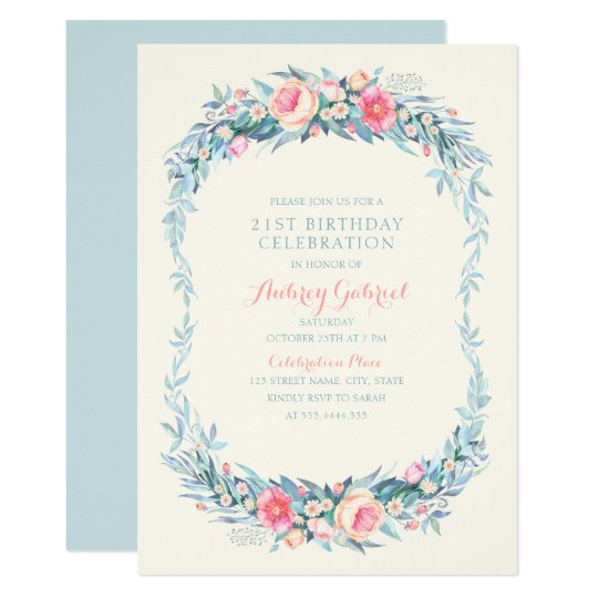 Elegant Adult Floral 21st Birthday Party Card
